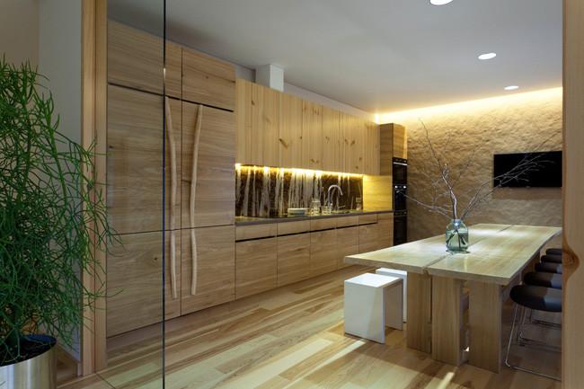 Изготовление и дизайн кухонь из натурального дерева, шпон.